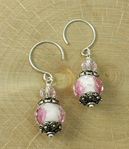 Fire Cherry Quartz Bead (A Pair of Carved Faceted Pink Rosebud Flower Crystal Earrings with Antique Sterling Silver Pantone Color of the Year Gift For Her Mom Pastel Mother's Day Sorority)