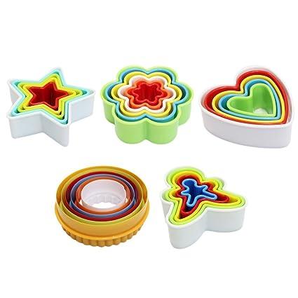HaimoBurg 27 Piezas Moldes para Galletas en Plástico formas de Cuadrado Flor Hombrecillos de Pan de