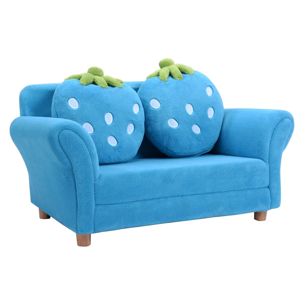 Amazon.com: Costzon Children Sofa, Kids Couch Armrest Chair, Upholstered  Living Room Furniture, Lounge Bed With Two Strawberry Pillows(Blue):  Kitchen U0026 ...