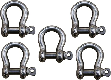 Off Road Recovery Towing MarineNow US Type 316 Stainless Steel Bow Shackle with Over Size Screw Pin for Anchor
