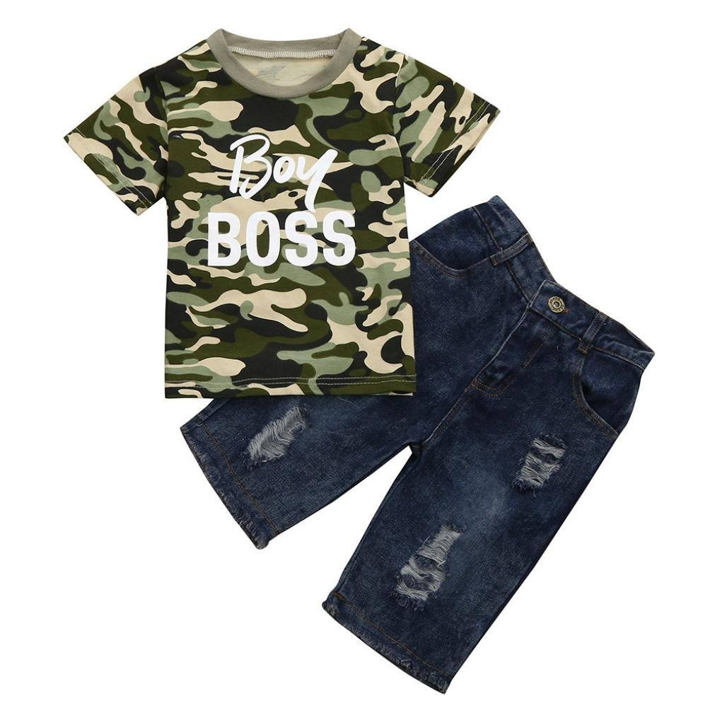 DIGOOD for 1-6 Years Old,Teen Baby Boys Camouflage Letter T-Shirt Tops+Denim Pants,Kids Stylish Outfits Clothes Sets