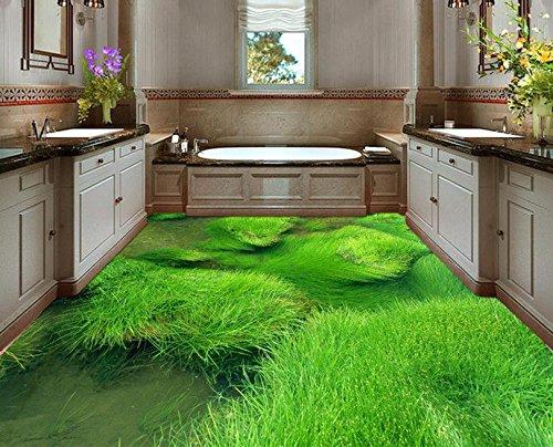 300cmX250cm Flooring wallpaper 3d green grass photo floor wallpaper floor 3d mural PVC wallpaper self-adhesion floor wallpaper by ZLJTYN