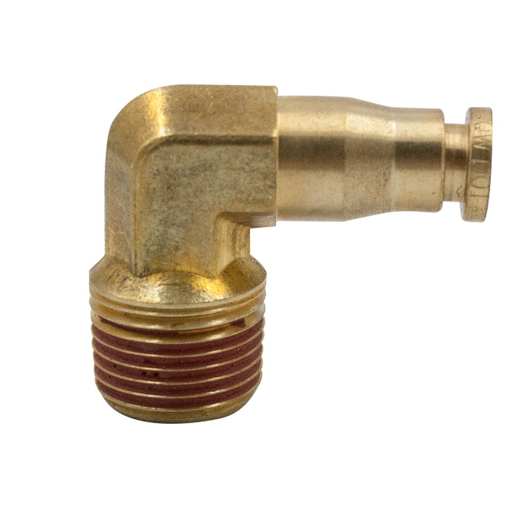 Legines DOT Brass Push in Fitting, Air Brake 90 Degree Male Elbow, 1/4'' Tube OD x 1/2'' NPT Male (Pack of 2)