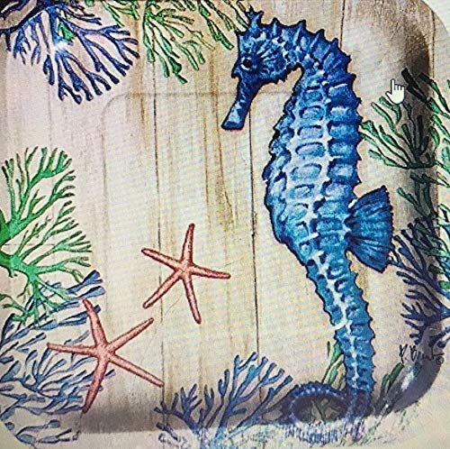 Creative Converting Coral Seahorse Square 8 in Dessert Paper Plates, 18 count