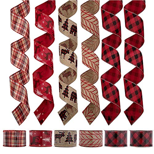"""iPEGTOP 36 Yards 2.5"""" Wired Burlap Christmas Ribbon, Natural Jute Gift Wrapping Ribbon Wreath Bows Trims Decorations, Assorted Rustic Fabric Ribbons (6 x 6 Yard) - Black/Red Classic Plaid"""