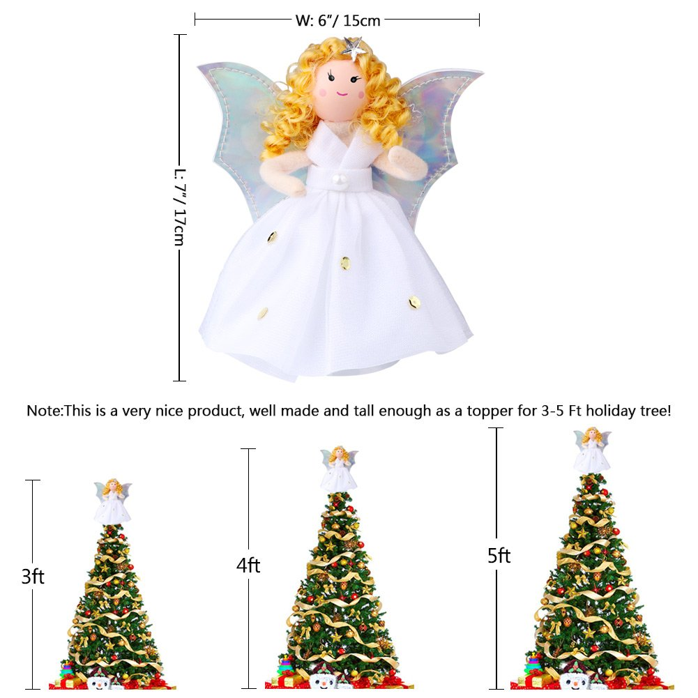 Aytai Small Angel Christmas Tree Topper 7 Inch Angel Ornaments for ...