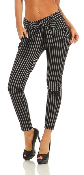 Hose Business Damenhose Gestreift Streifen Fit 5751 Slim Fashion4young Bundfaltenhose Damen LMSUpjqzGV