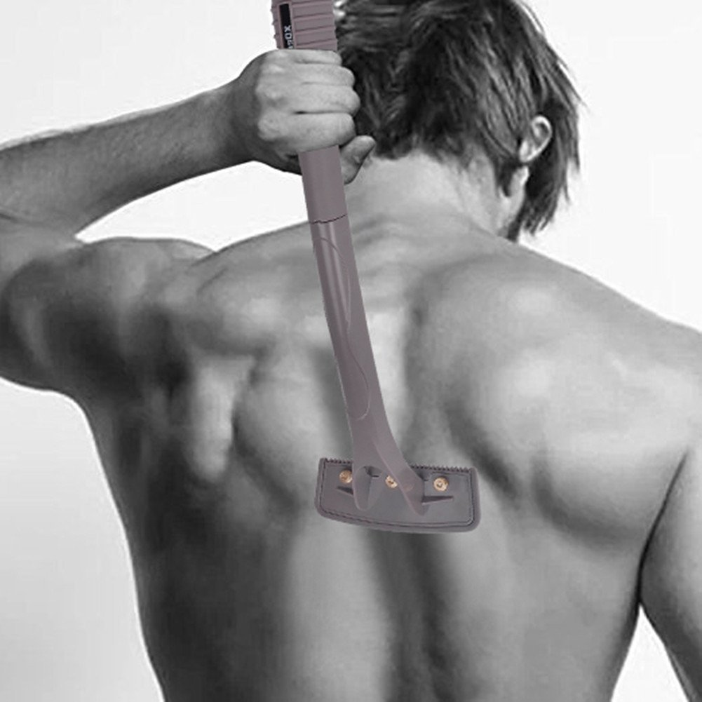 Men's Back Hair Removal Shaver, XDeer Body Grooming Tool for Back Hair Removal with Foldable Handle and Safety Double-Sided Blades for Pain-Free Body Hair Removal (Black)