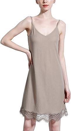 FEOYA - Vestido de Noche para Mujer, de algodón, Cuello en V, con Tirantes de Encaje, Suave para Verano, Talla 36-42: Amazon.es: Ropa y accesorios