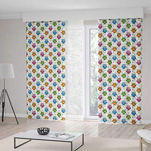 C COABALLA Bedroom Curtains Blackout,Owls,for Living Room,Lively Colored Fun Kids Cartoon Happy Mascots Colorful Pattern with Circles and Dots2 Panel Set,103W X 96L Inches