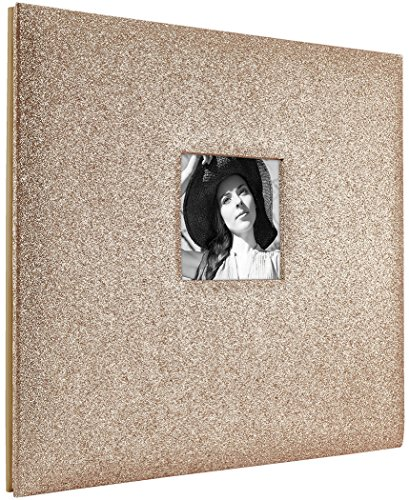 MCS MBI 13.5x12.5 Inch Golden Glitter Scrapbook Album with 12x12 Inch Pages with Photo Opening (860136)