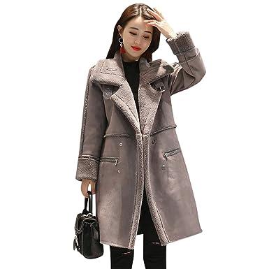 YuanDian Mujer Invierno Larga Chaqueta de Piel Sintética Collar Del Soporte Doble Pecho Calentar Abrigo: Amazon.es: Ropa y accesorios