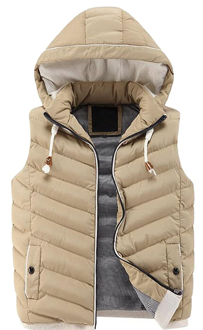 Hooded Waya Jacket Vest Warm Padded Winter Down Mens Drawstring gxRq54P