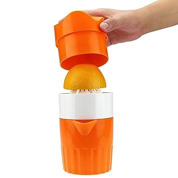 Exprimidor manual de mano para limón, limón, pomelo con colador y recipiente simple de zumo, color naranja: Amazon.es: Hogar