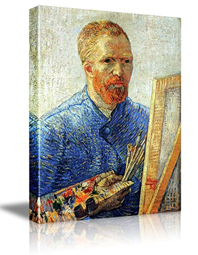 (wall26 Self Portrait as a Painter by Vincent Van Gogh - Oil Painting Reproduction on Canvas Prints Wall Art, Ready to Hang - 16x24 inches)
