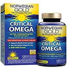 Norwegian Gold Critical Omega is an ultra-concentrated EPA and DHA Omega-3 fish oil supplement to support heart, joint, and brain health. Ultra-concentrated to over 85% total Omegas, it has 900 mg Omega-3 in each burp-free softgel to help giv...
