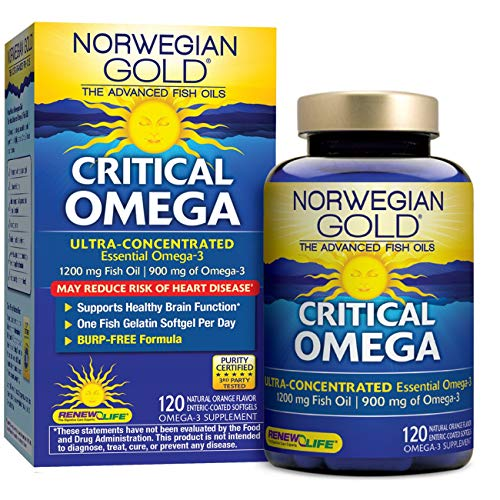 Renew Life Norwegian Gold Adult Fish Oil - Critical Omega, Fish Oil Omega 3 Supplement - 120 Burp-Free Softgel Capsules (Packaging May (Best Gold Oils)