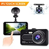 Dash Cam 4 inch Touch Screen Full HD 1080P Dual Lens Car Camera, Video Dashboard Recorder and Rear View Camera,Night Vision, 170° Wide Angle, G-Sensor, Loop Recording, Motion Detection KAMEP