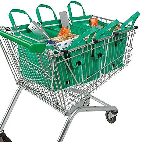 Juego de 4 bolsas para la compra para el carrito de supermercado reutilizables: Amazon.es: Hogar