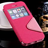 For Iphone 6 Top Quality Window View Luxury Flip Leather Case For Apple Iphone6 Retro Stand Mobile Phone Wallet Cover With Logo Hot Pink-Hot Pink