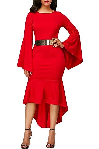 COSIVIA Vestidos Midi Mujer Elegantes Campana Manga completa Terminado Larga Vestidos de noche Vestido Fiesta Vestido
