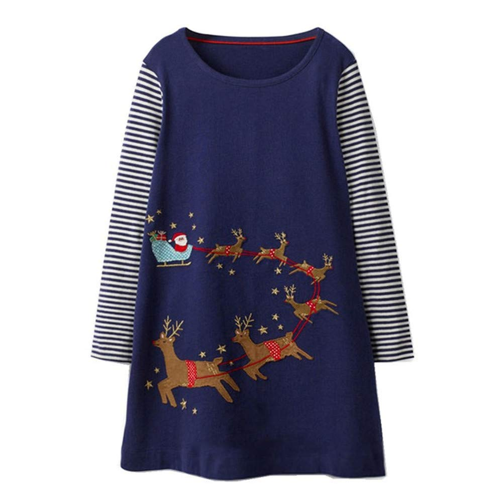 HILEELANG Toddler Girl Dress Stripe Long Sleeve Autumn Winter Cotton Basic Dress 1-7 Year