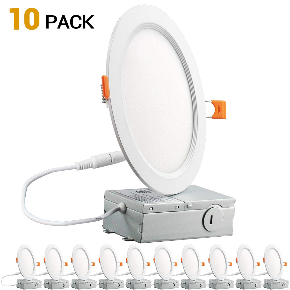 12W 6 inch Slim Recessed Ceiling Light 950LM 5000K Daylight Dimmable Airtight Downlight with Remote Driver -10PK