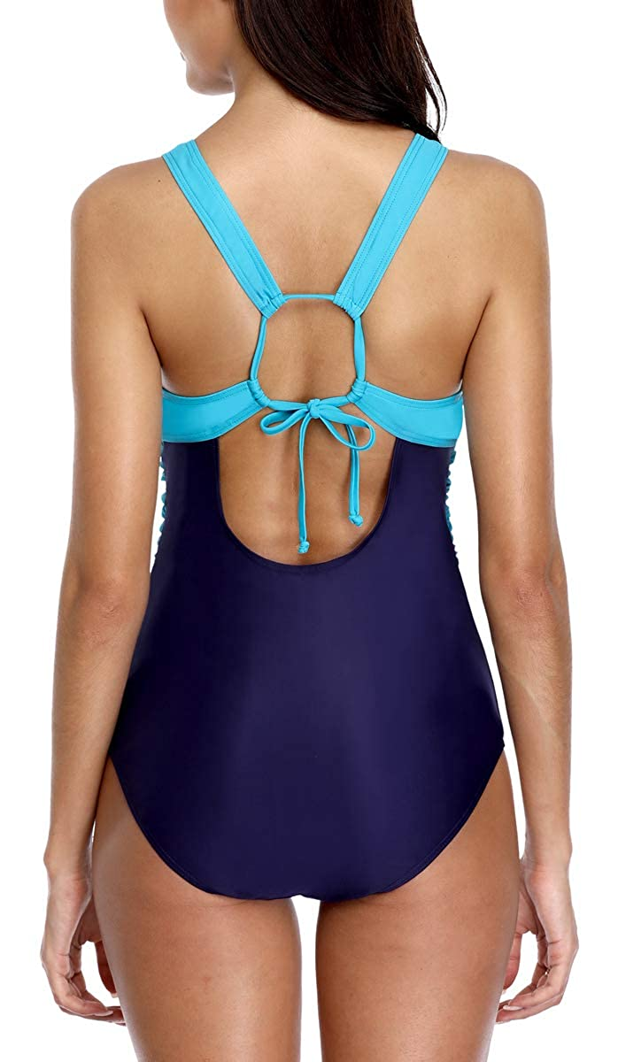 belamo Women Cut Out One Piece Swimsuits High Waist Tie-Knot Front Swimming Suit