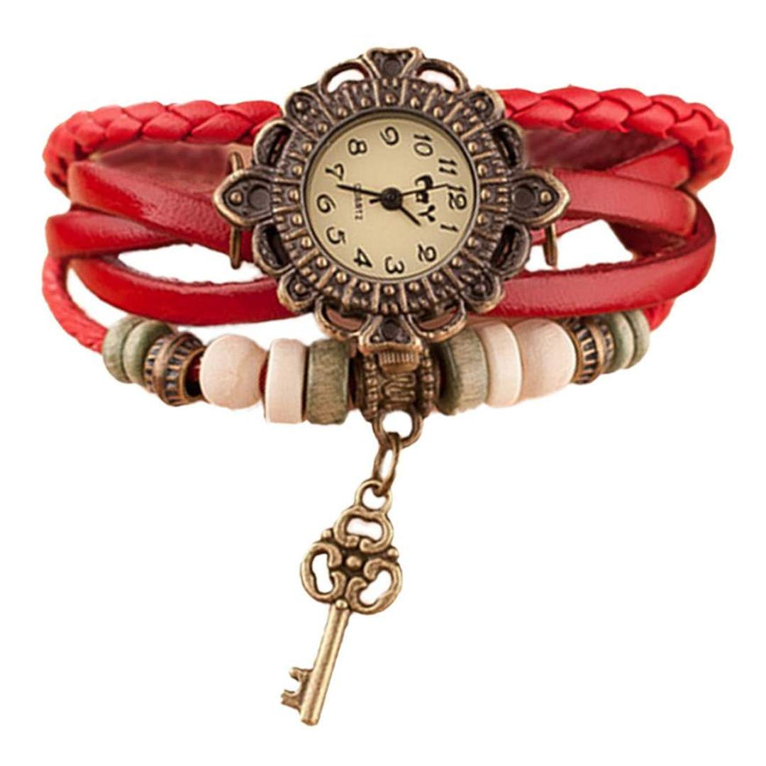 Amazon.com: Para Mujer Watches Women Vintage Weave Around Leather Key Bracelet Wristwatches Ladies Clock Gift Red1: Beauty