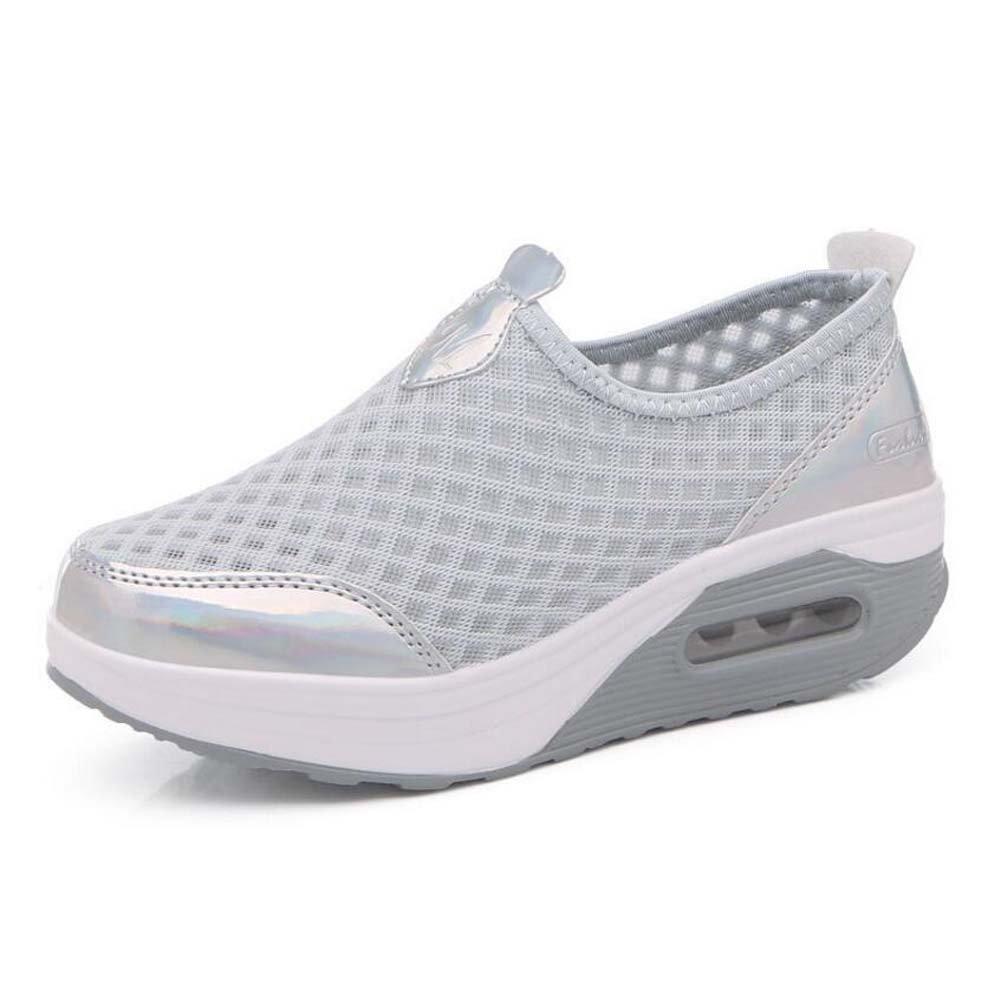 Zapatillas de Deporte Casuales de Las Mujeres Zapatos de Amortiguación de Aire Zapatos Deportivos de Malla Zapatos de Suela Gruesa Primavera y 37 EU Gris