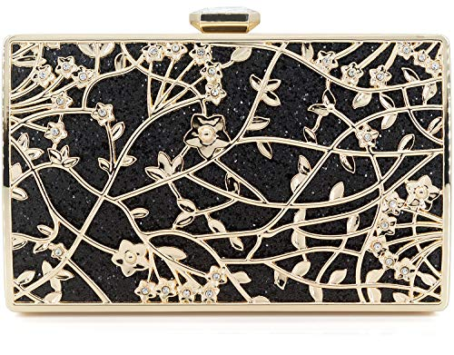 (Dexmay Formal Floral Evening Bag for Wedding Party Luxury Glitter and Rhinestone Crystal Clutch Purse Black )