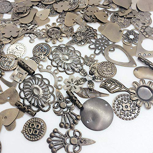 - 100 Piece Antique Bronze and Silver Mixed Filigree Flower Round Heart Connect.