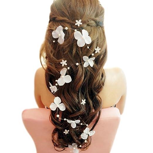 Brawdress Femme Fille Fleur Perle Faux Bandeau cheveux vigne Headpiece Mariage Accessoires de cheveux