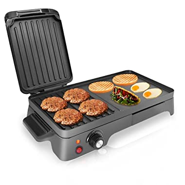 NutriChef Electric Griddle - Dual Hot Plate Cooktop Crepe Maker with Press Grill, Nonstick Coating, Rotary Temperature Control, Plug-in Operation & Oil Tray for Kitchen & Countertop (PKGRIL43)