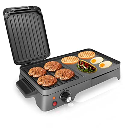 Superbe NutriChef Electric Griddle   Dual Hot Plate Cooktop Crepe Maker With Press  Grill, Nonstick Coating