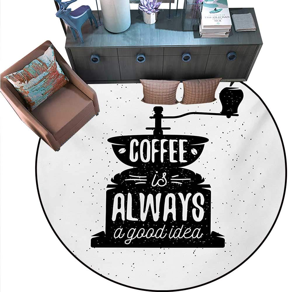 """Quote Round Area Rug Carpet Coffee Maker Silhouette Coffee is Always a Good Idea Grungy Typography Anti-Skid Area Rug (75"""" Diameter) Black White.jpg"""