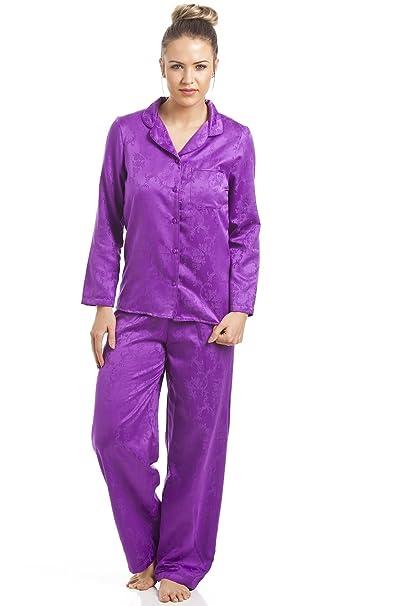 Camille - Conjunto de pijama satinado para mujer - Estampado floral morado 44