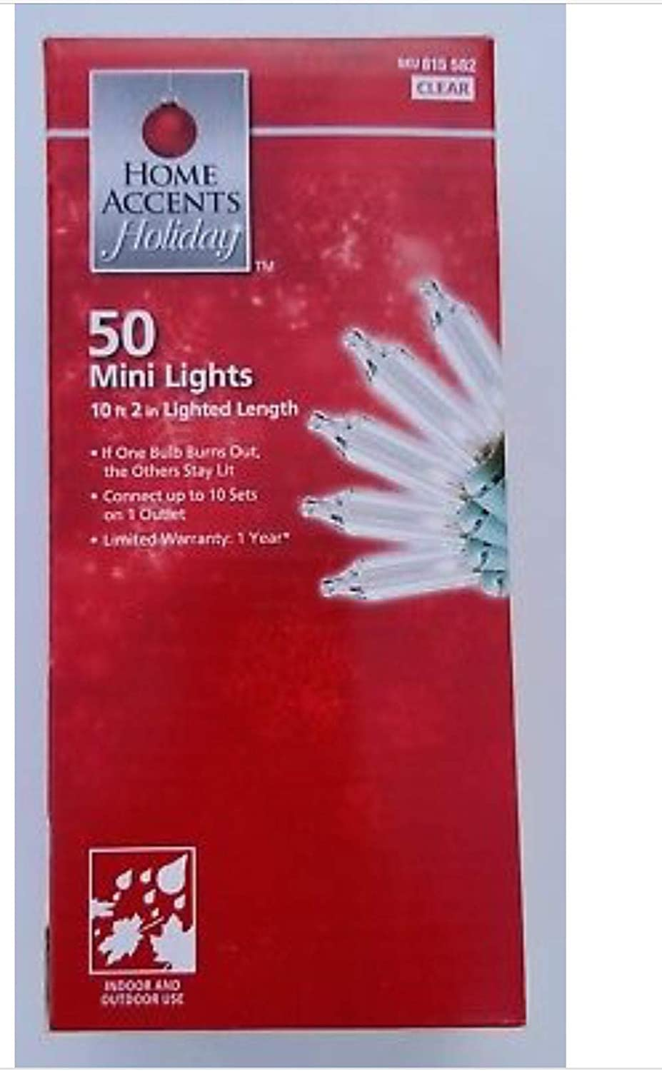 Home Accents Holiday 50-mini Lights, Clear String Lights w/Green Wire (2-pack) by Home Accents