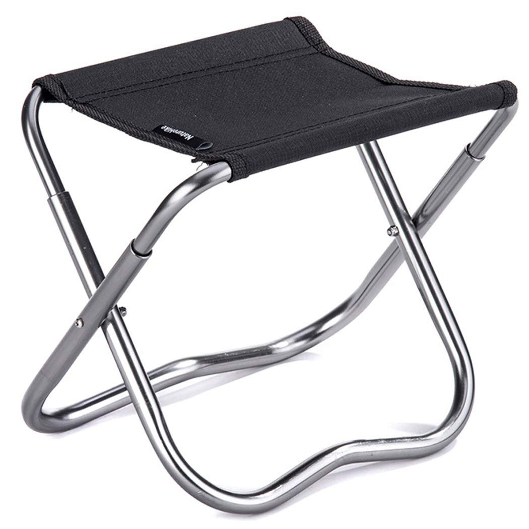 Folding Chair Outdoor Folding Stool Portable Aluminum Alloy Small Horse Leisure Small Bench Sketch Folding Chair Fishing Stool (Color : Black, Size : 2023.5cm)