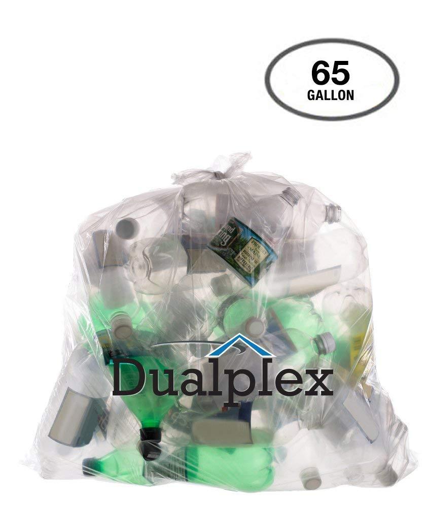 dualplex 65ガロンクリアTrash Bags 1.5ミル50バッグ1ケース50