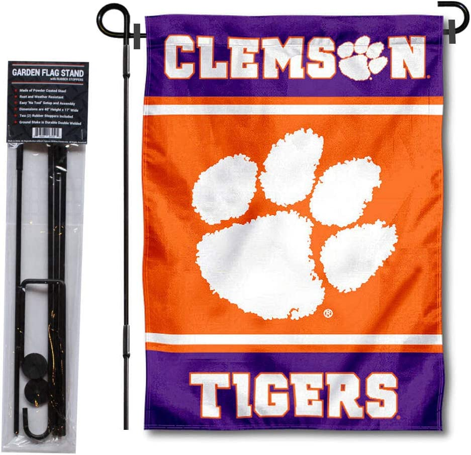 College Flags & Banners Co. Clemson Tigers Garden Flag and Flag Stand Pole Holder Set