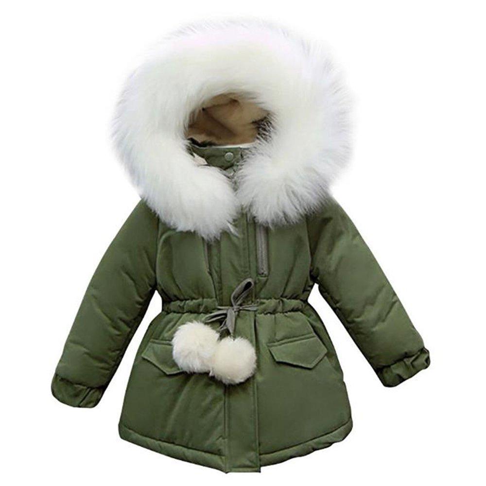 goldenharvest GH Fashion Kid Girls Winter Hood Fur Cotton Coat green 10-11T