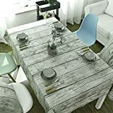 Tablecloths with Natural Wooden Grain Pattern Dining Room Vintage Cotton Linen Tablecloth for Dining Table Camping Hunting Backyard Party (71 x 55 inch)