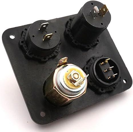 interrupteur ON // OFF panneau de bouton 4 trous pour bateau voiture camions Marine Moto RV v/éhicules VTT GPS voltm/ètre LED Linchview double chargeur USB panneau de commande en aluminium sortie 12V