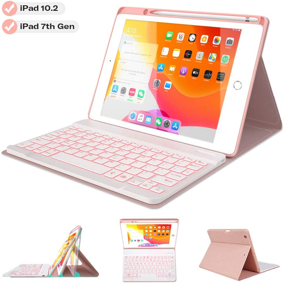 "Keyboard Case for iPad 10.2 2019 7th Gen - 7 Color Backlit Wireless Detachable BT Keyboard - Built-in Pencil Holder - Auto Sleep/Wake Cover - Tablet Case for iPad 10.2"" 2019 (Pink)"