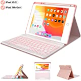 """Keyboard Case for iPad 10.2 2019 7th Gen - 7 Color Backlit Wireless Detachable BT Keyboard - Built-in Pencil Holder - Auto Sleep/Wake Cover - Tablet Case for iPad 10.2"""" 2019 (Pink)"""