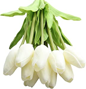 XHSP 30 pcs Real-Touch Artificial Tulip Flowers Home Wedding Party Decor (Pure White)