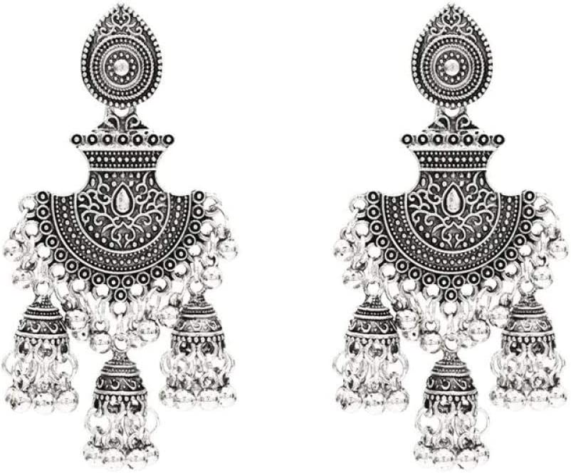 ZIXIYAWEI Pendientes para Mujer Plata Vintage Indio Bollywood Pendientes Colgantes Gitana Joyería De Moda Pendientes Geométricos Pendientes Colgantes Fiesta Joyería Regalo