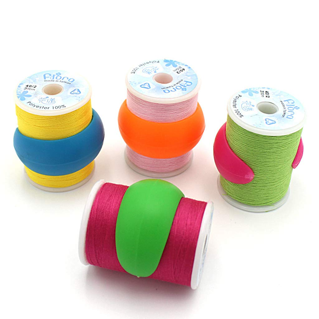B Baosity 32 Pieces Mixed Colors Silicone Bobbin Holders Clip Clamps Thread Spool Hugger Sewing Tools