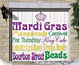 Outdoor Mardi Gras Decorations Garage Door Banner Cover Mural Décoration 7'x8' - Mardi Gras Words - ''The Original Mardi Gras Supplies Holiday Garage Door Banner Decor''